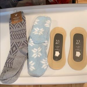Sock bundle, 1 pair crew, one cozy, and 2 no show.